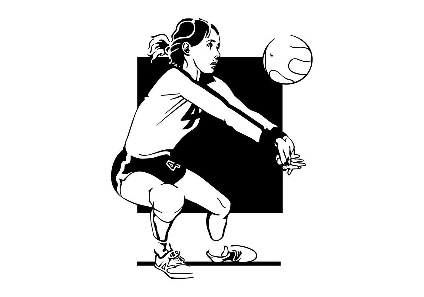Active Young Women Volleyball Player Sport Stock Vector: Download Free Vector Art, Stock Graphics