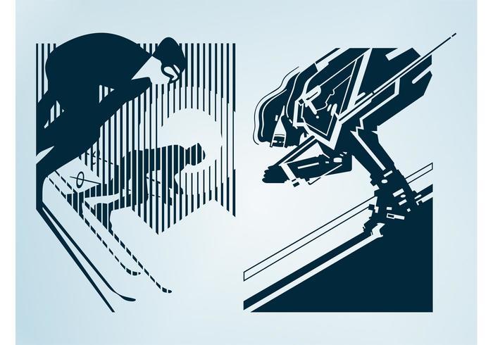 Skiing People Designs
