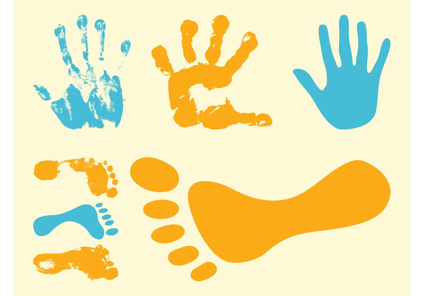 Footprints And Hand Prints - Download Free Vector Art, Stock ...