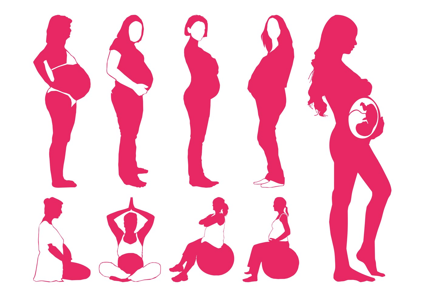 Pregnancy Svg Mommy Svg Baby Svg Pregnant Svg Mommy To Be: Pregnant Women Silhouettes