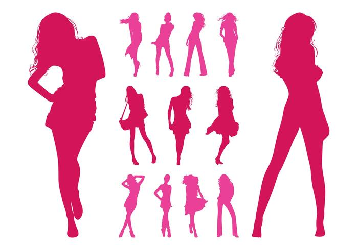 Fashion Models Silhouettes Set