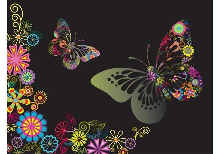 Colorful Flowers And Butterflies