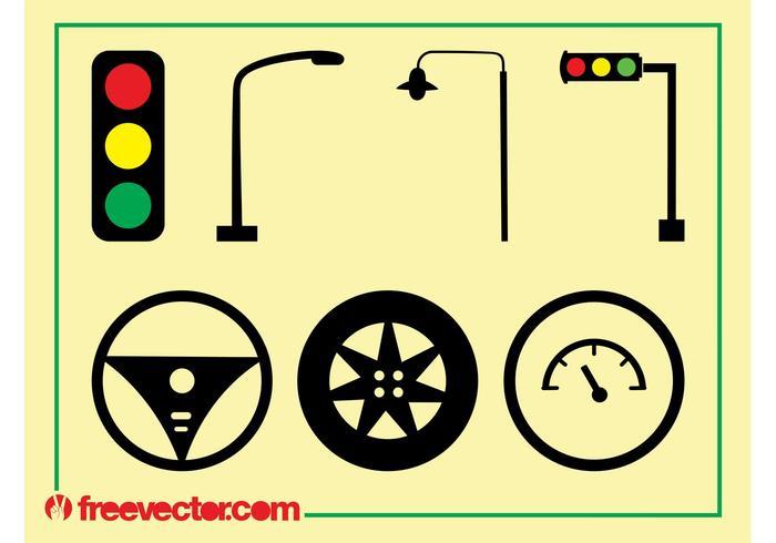 Iconos de tráfico y conducción