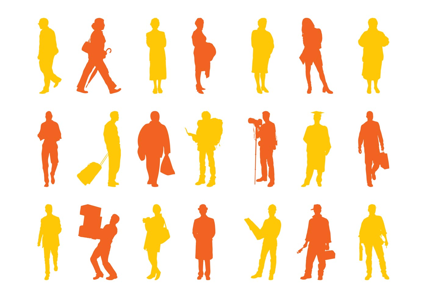 Traveling People Silhouettes Vector Art Graphics: People Silhouettes Set Graphics