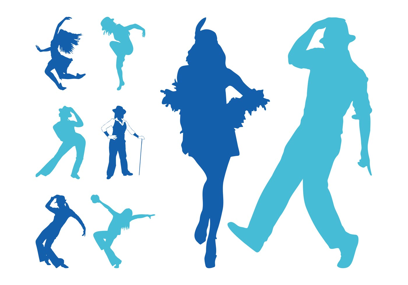 Jazz Dancers Silhouettes Download Free Vector Art Stock