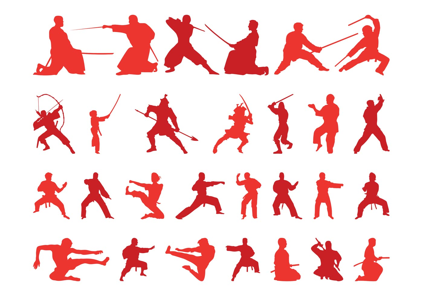 Self Stick Paper Martial Arts Silhouettes Download Free Vector Art Stock