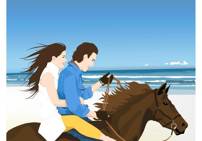Happy Couple On Horse