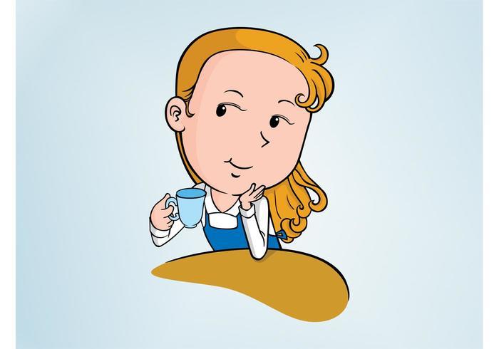 Cartoon Girl With Coffee