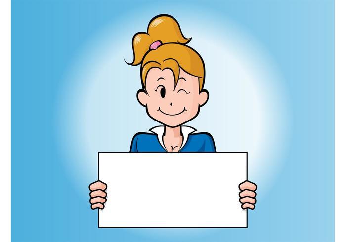 Cartoon Girl With Board