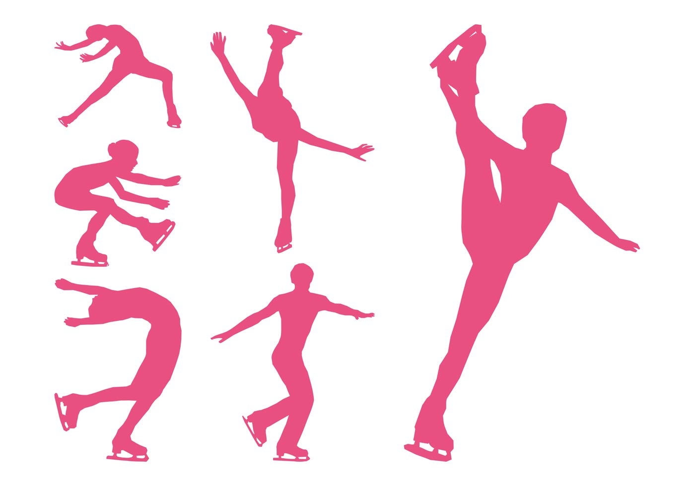 Dynamic Sports Figures Silhouette: Figure Skaters Silhouettes Set
