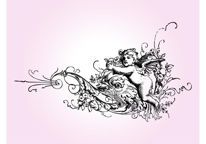 Vintage Cupid And Flowers