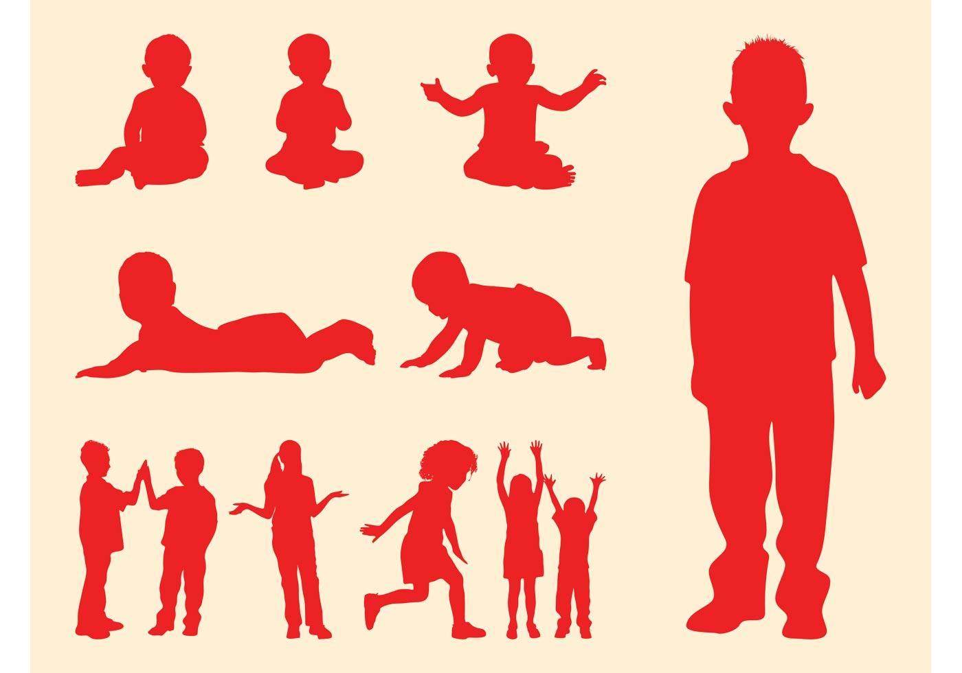 Siluetas De Niños Y Bebés