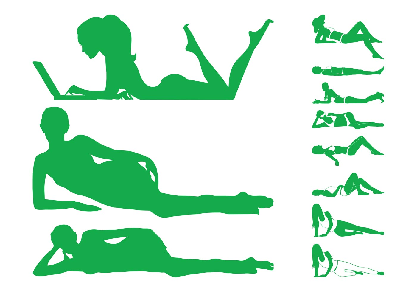 Lying Women Silhouettes Download Free Vector Art Stock