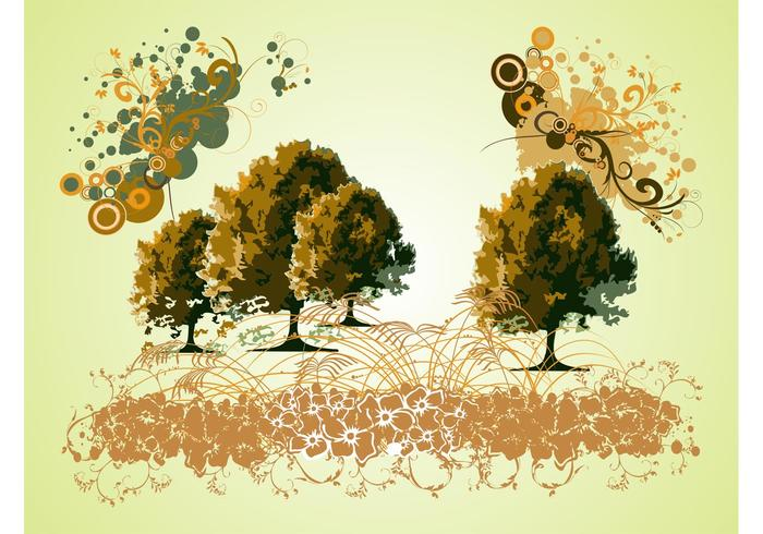 Trees And Swirls Graphics