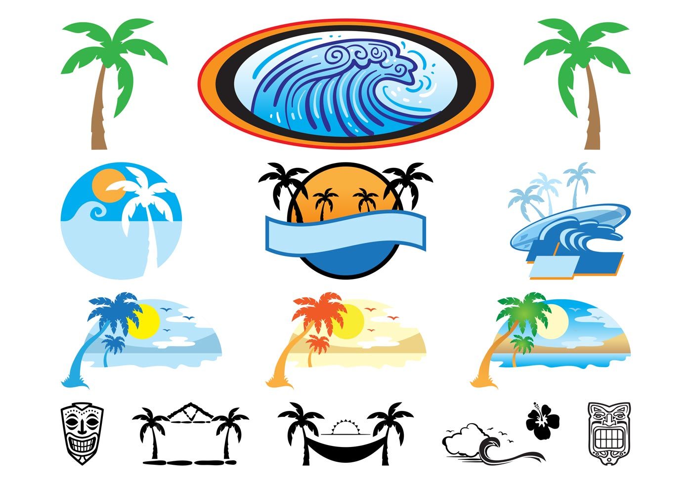hawaii icons set download free vector art stock