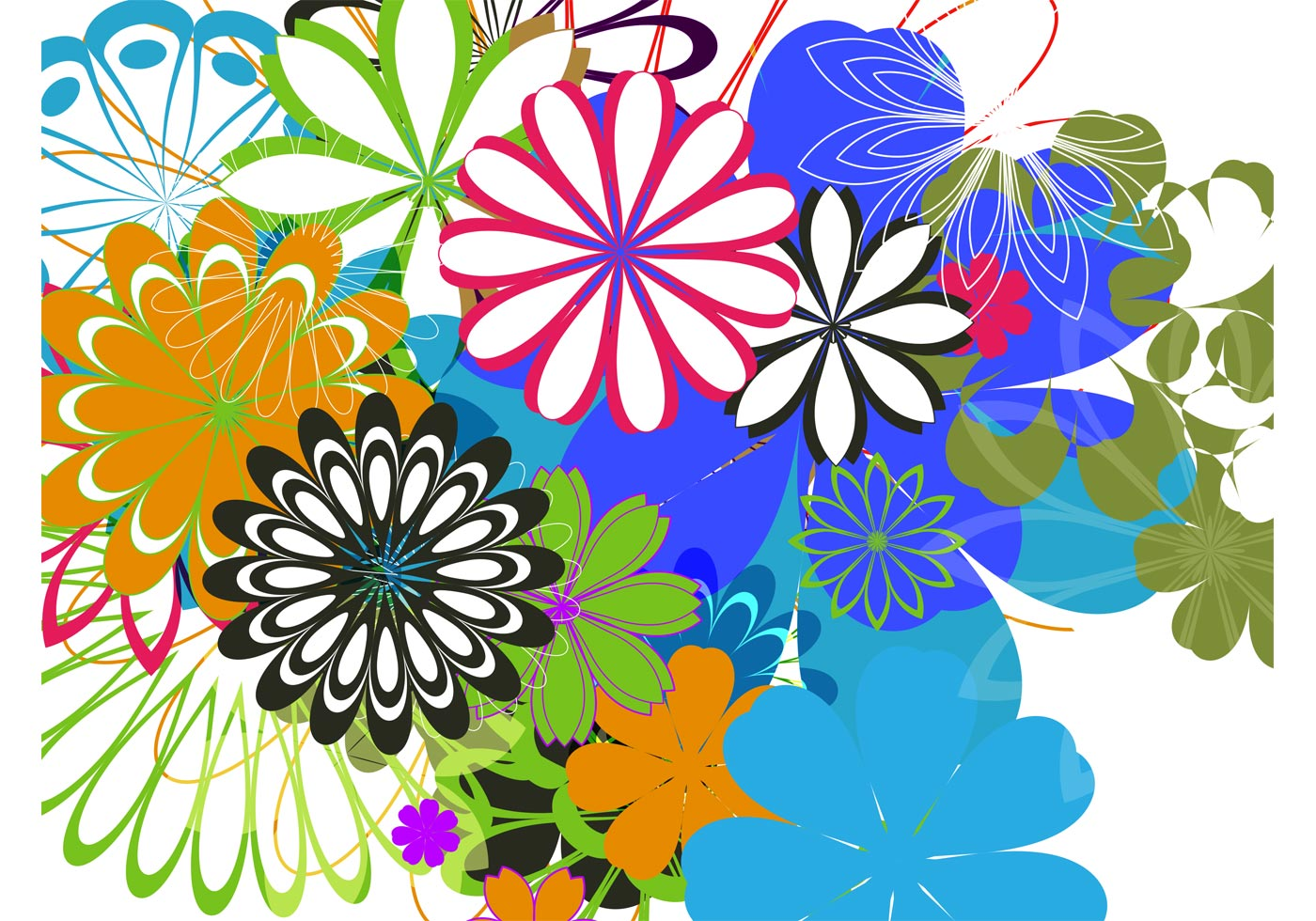 Free Colorful Flower Wallpaper Downloads: Colorful Flowers Background Art