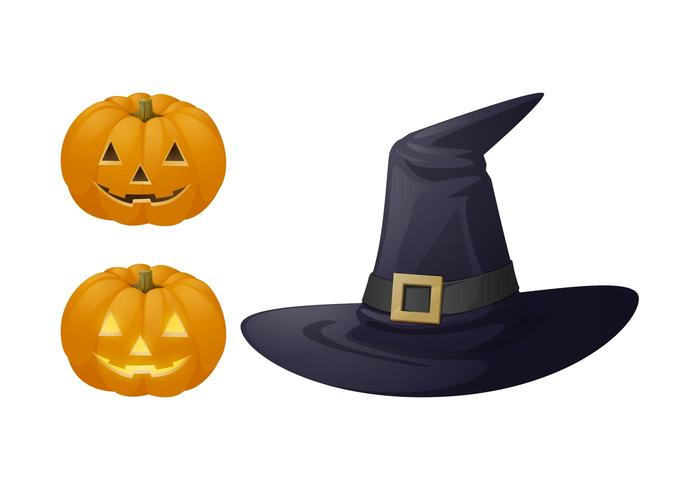 Halloween Hat And Pumpkins