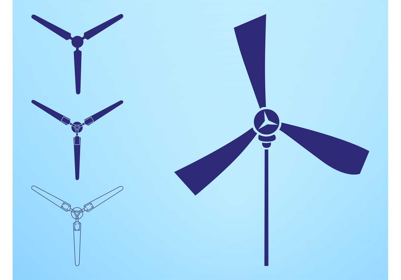 Wind Turbines Silhouettes Elements Download Free Vector