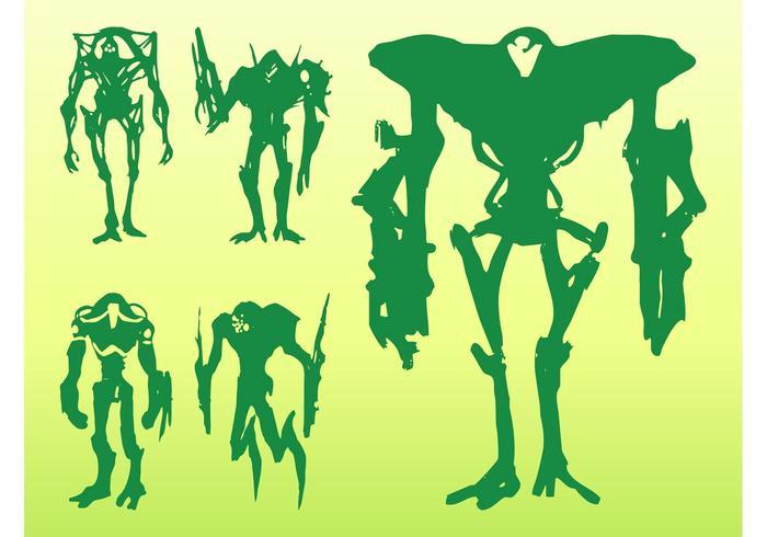 Alien Monster Silhouettes