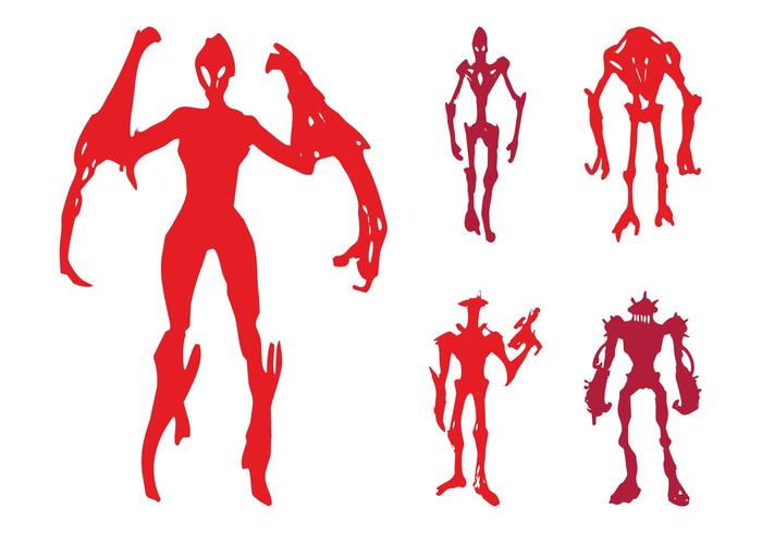 Alien Monsters Silhouettes