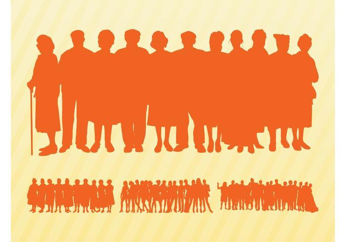 Graphiques des silhouettes des foules