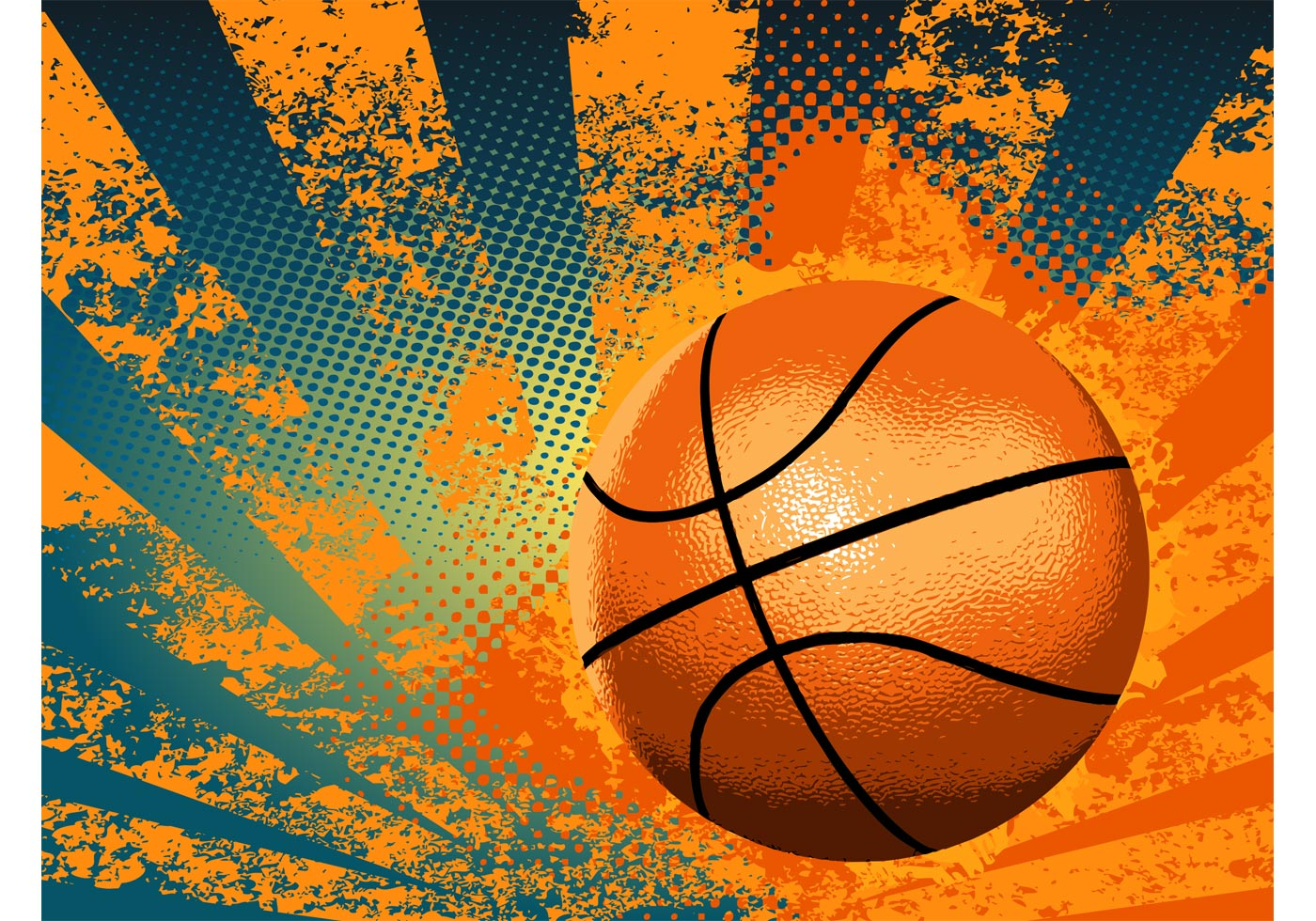 Sports Ball Vector Background Art Free Download: Grunge Basketball Background