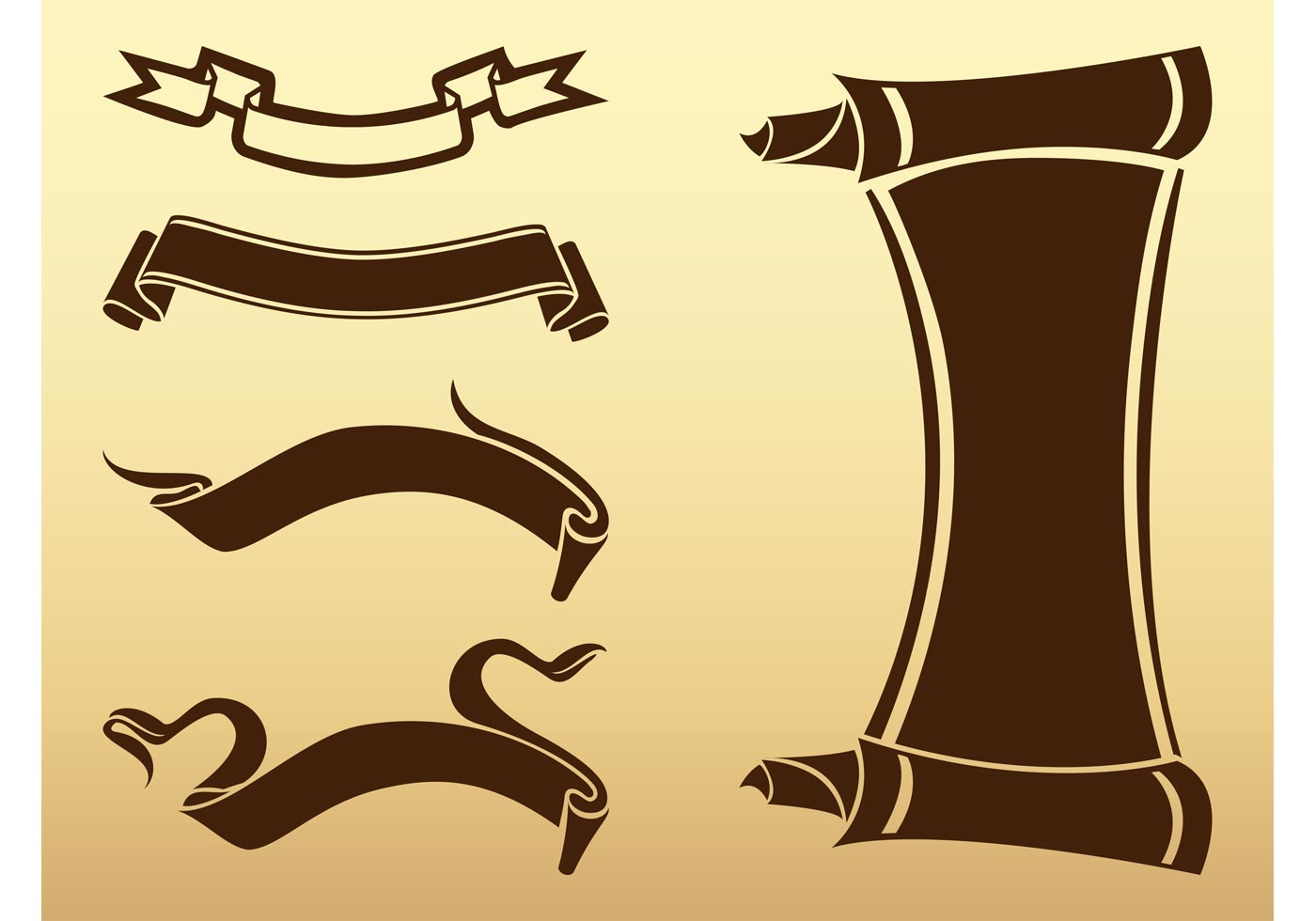old ribbons and scrolls download free vector art stock