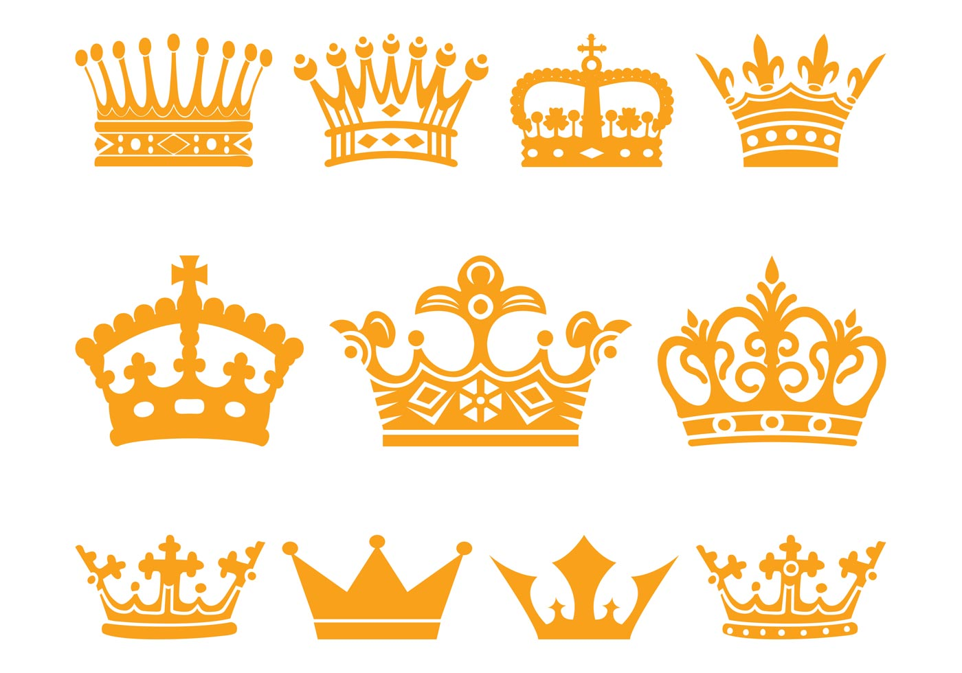 crowns set download free vector art  stock graphics   images crown vector free crown vector image