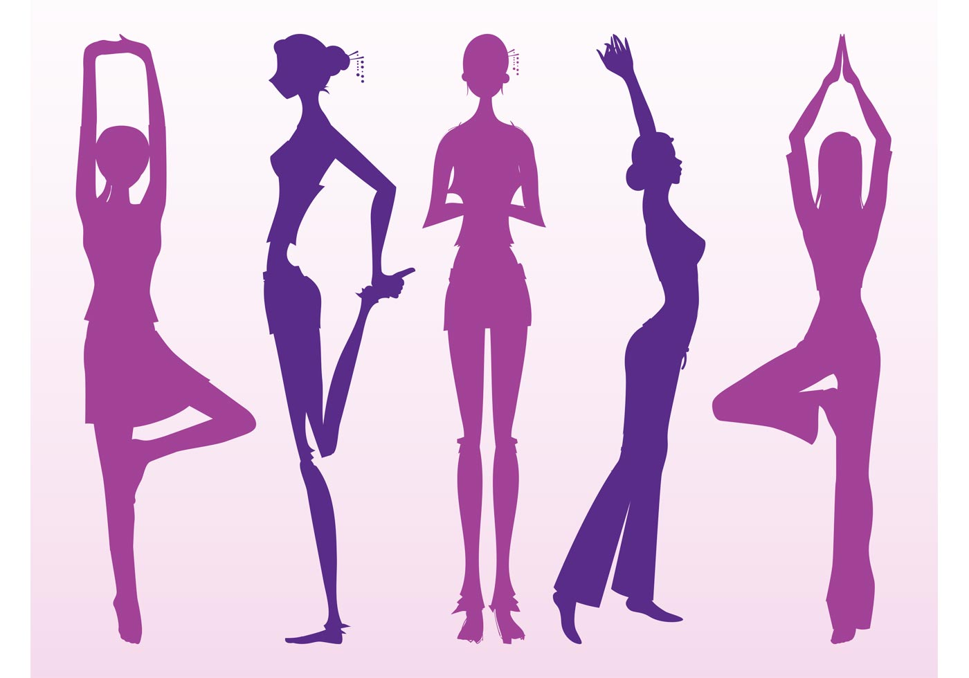 Stretching Girls Silhouettes Download Free Vector Art