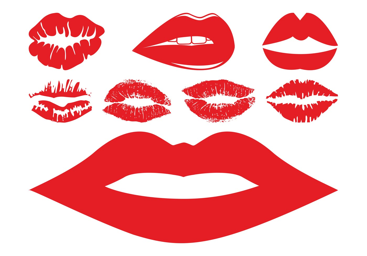 lips and kisses set download free vector art stock