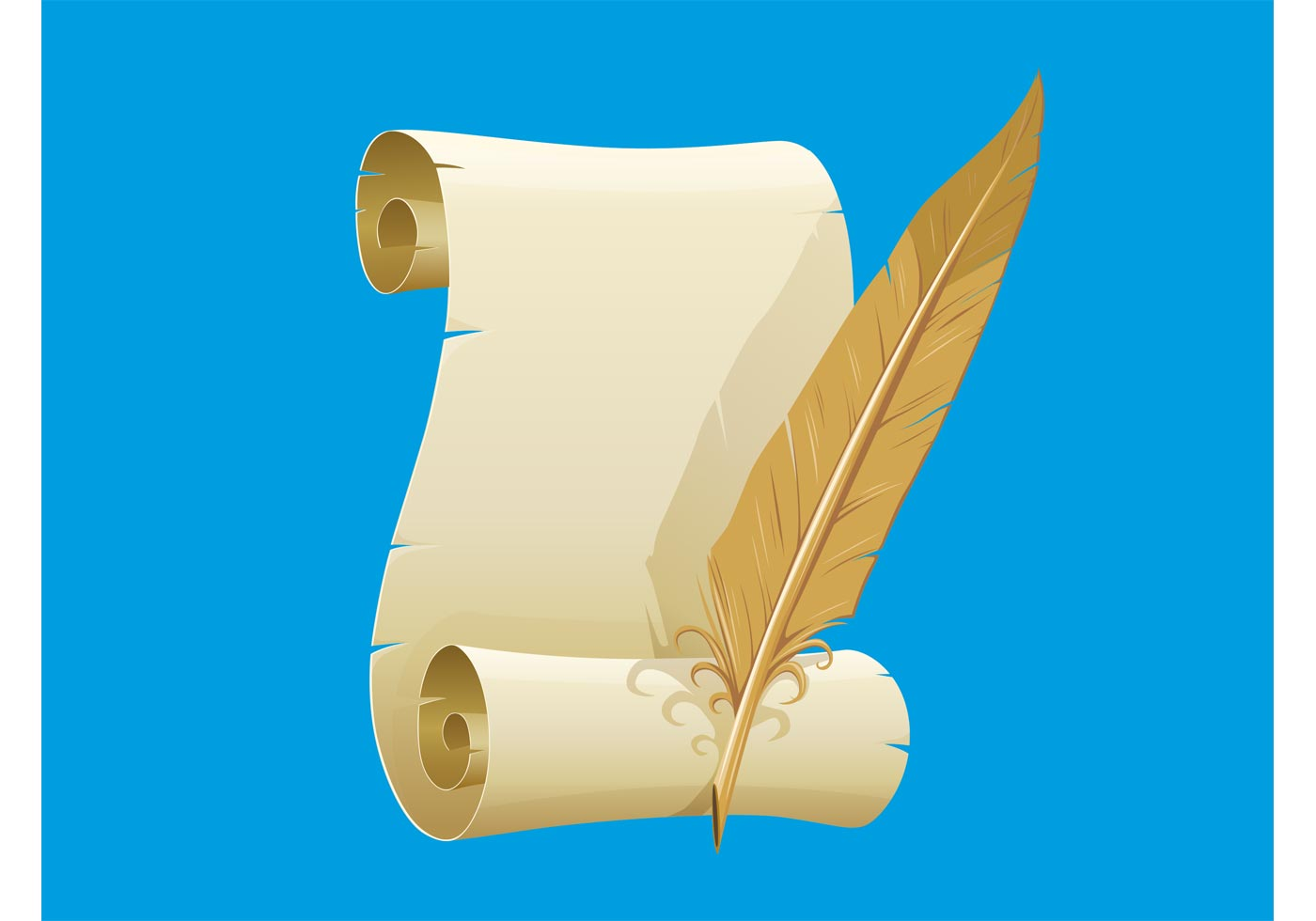 paper scroll and feather download free vector art stock