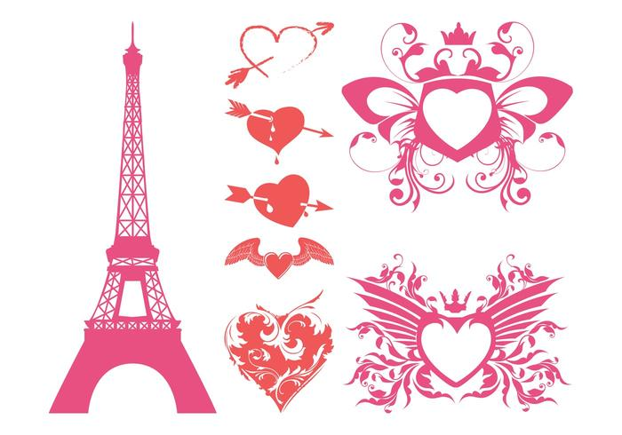 Romantic Hearts Vector