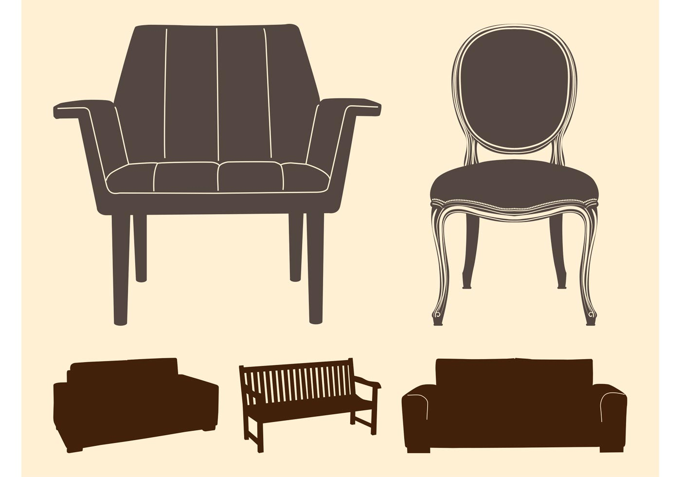 Chairs And Sofas Silhouettes Download Free Vector Art Stock Graphics Amp Images