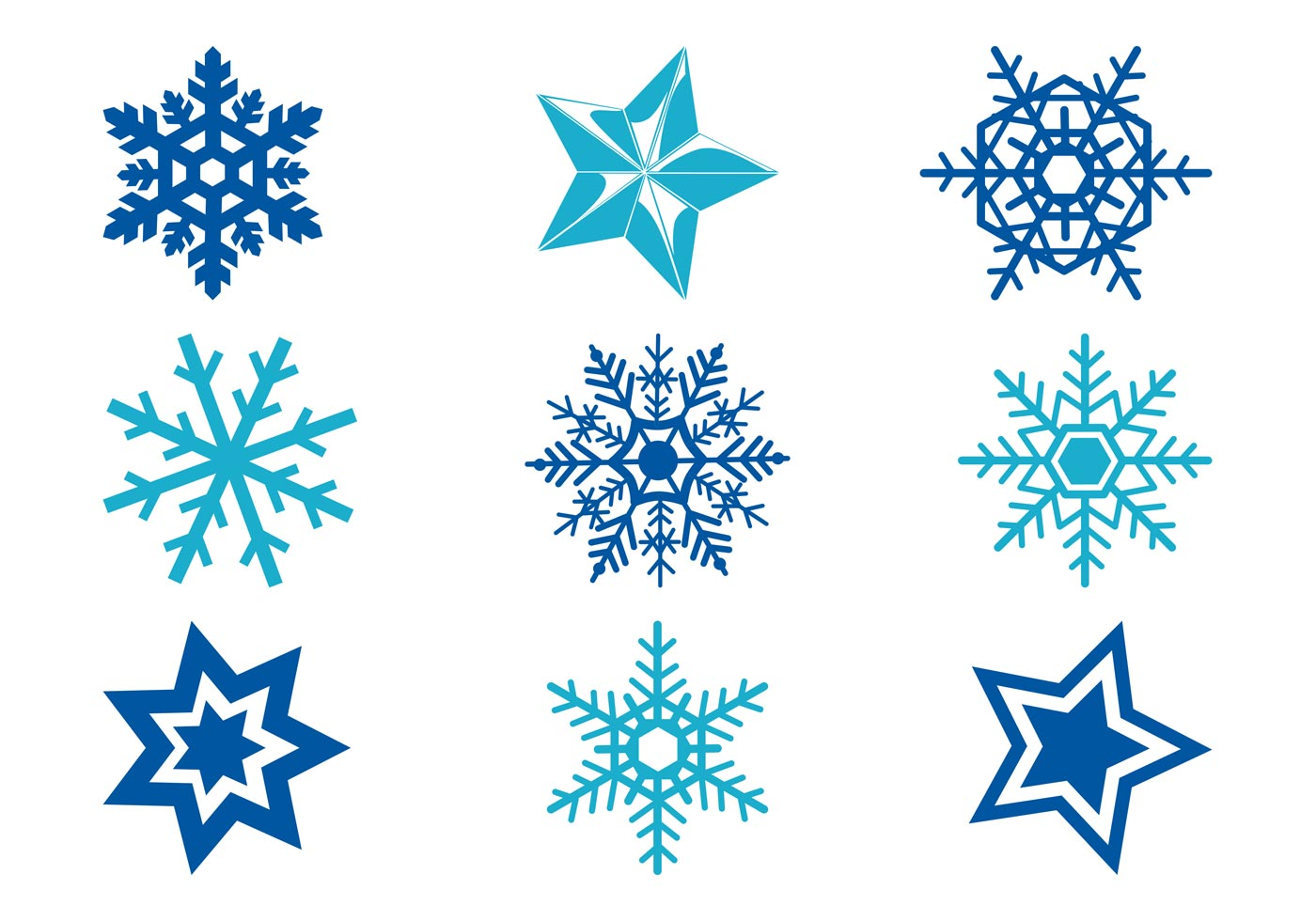 Stars And Snowflakes - Download Free Vector Art, Stock ...
