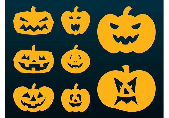 Siluetas de las calabazas de Halloween