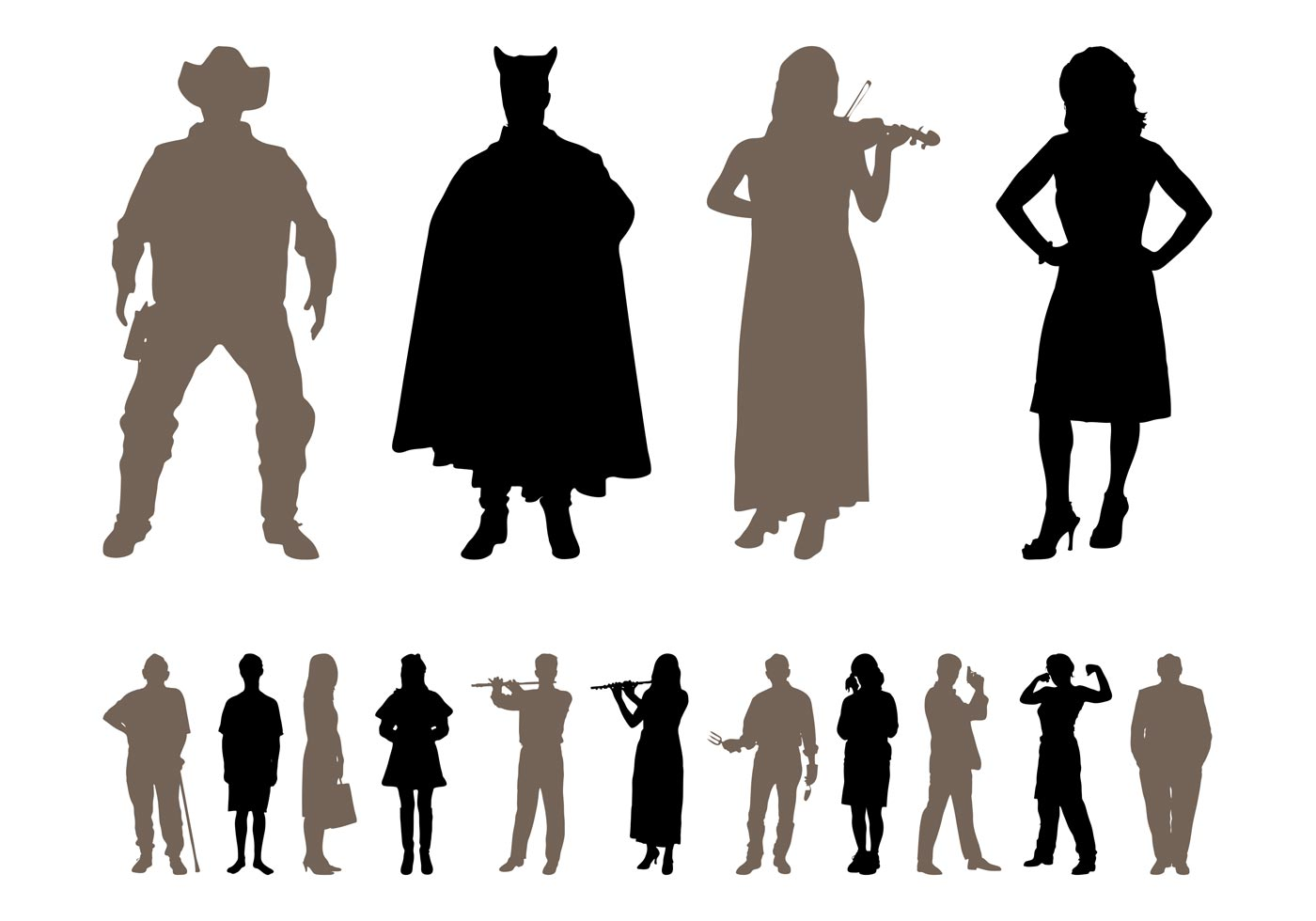 Traveling People Silhouettes Vector Art Graphics: People Silhouettes Designs Pack