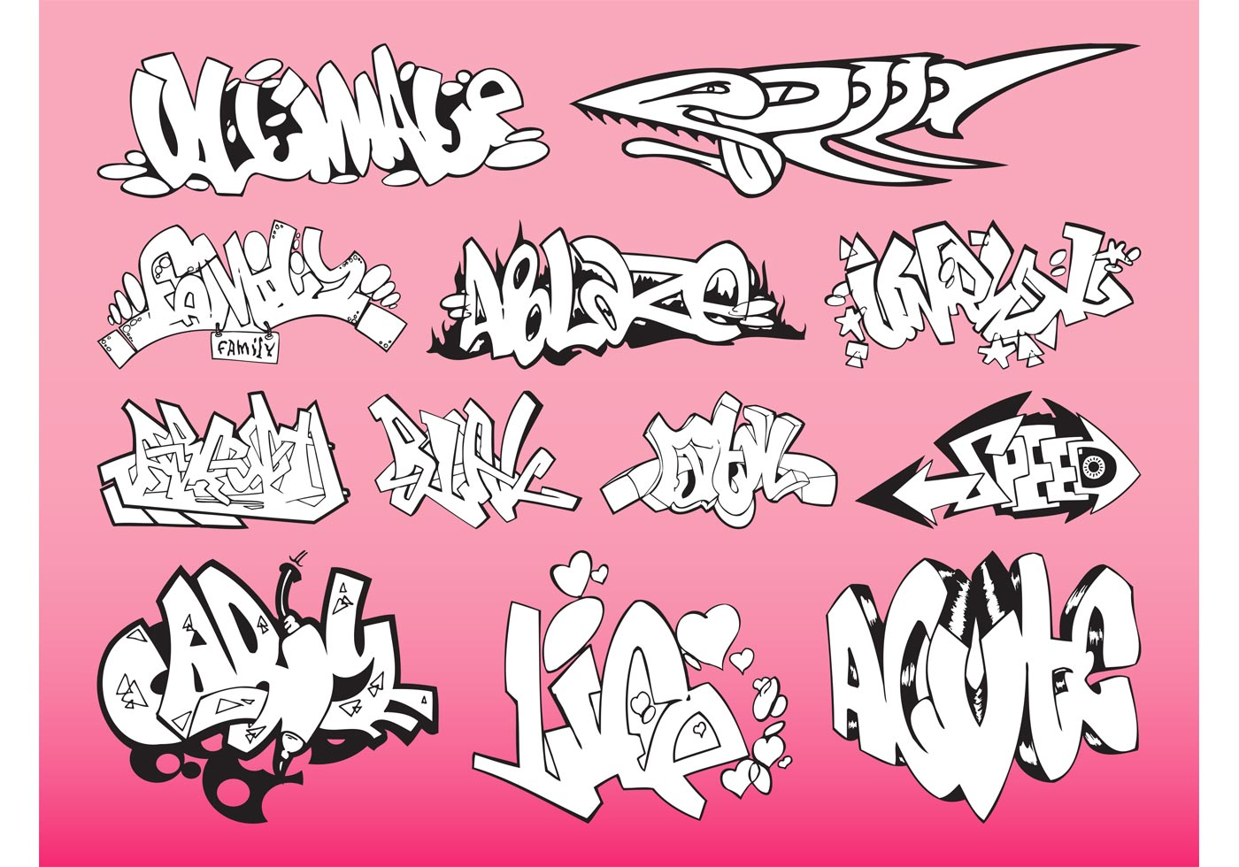 Download Graffiti Pieces Pack - Download Free Vector Art, Stock ...