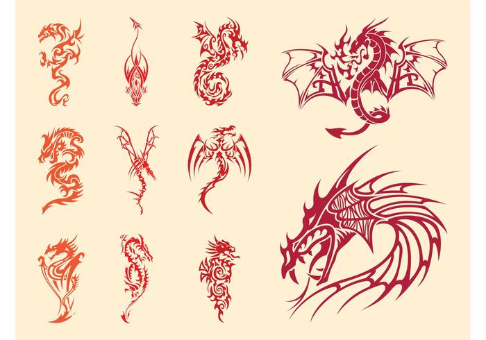 Dragons Tattoos Set