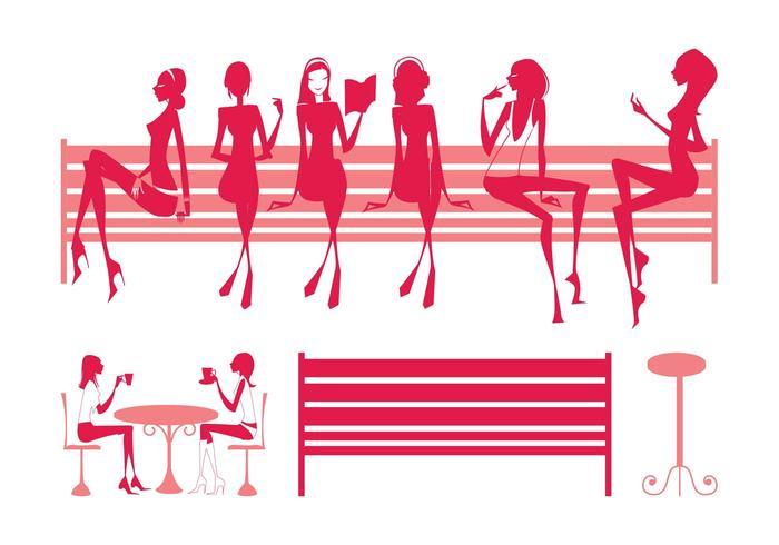 Sitting Girls Silhouettes