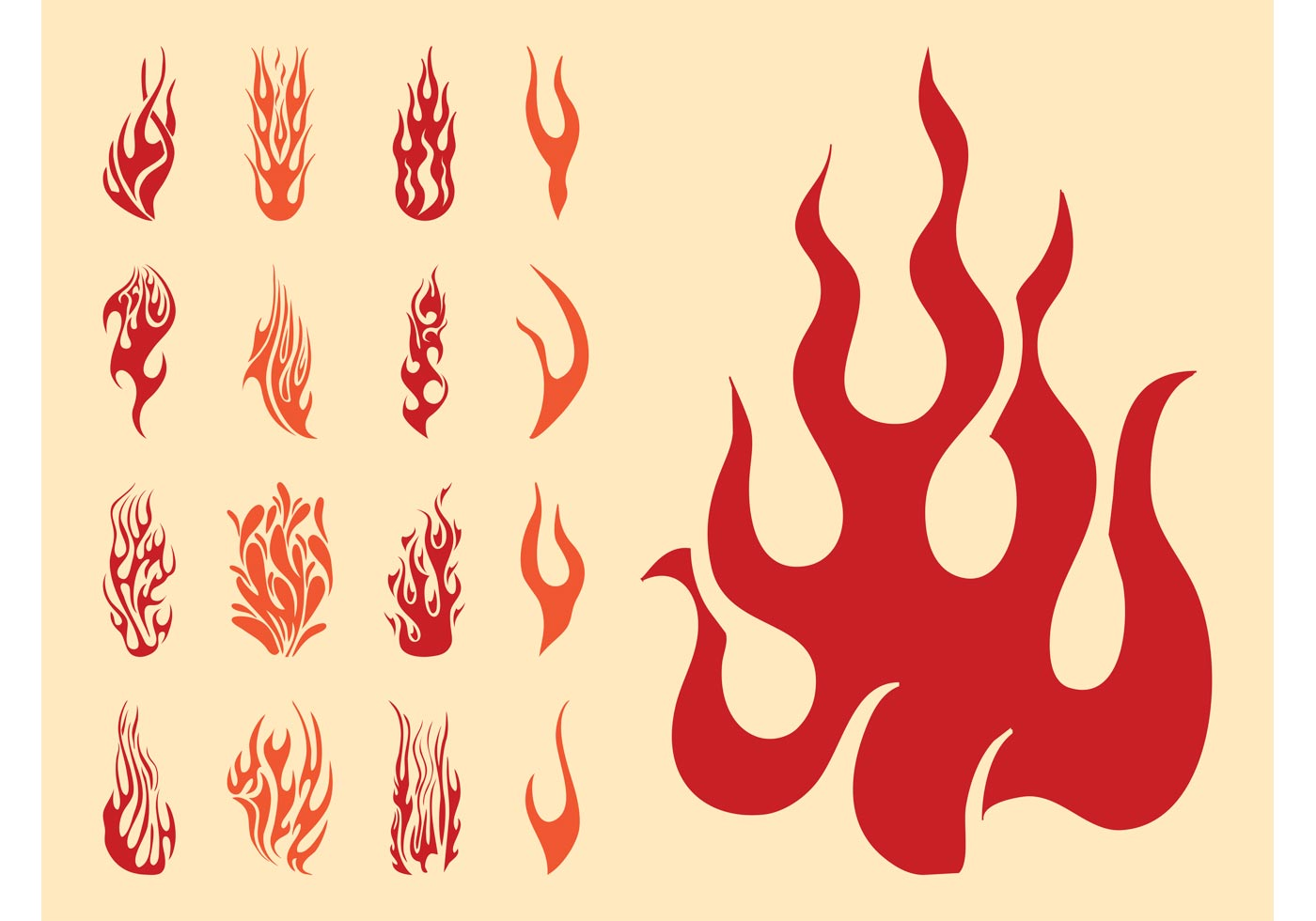 Flame Silhouettes Set Download Free Vector Art Stock