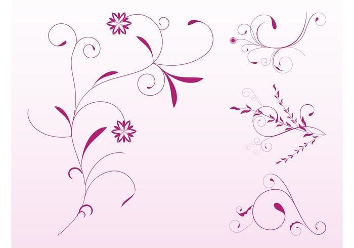 Pink Floral Scrolls Set