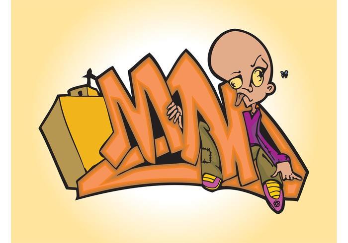 Cartoon Man Graffiti