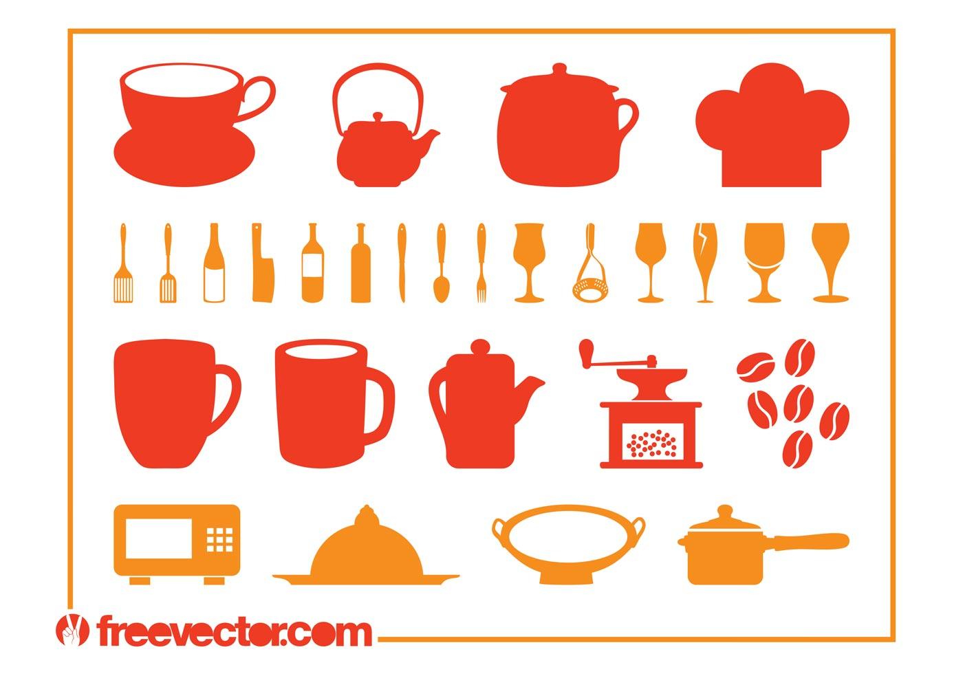 Kitchen utensils set download free vector art stock for Kitchen set vector