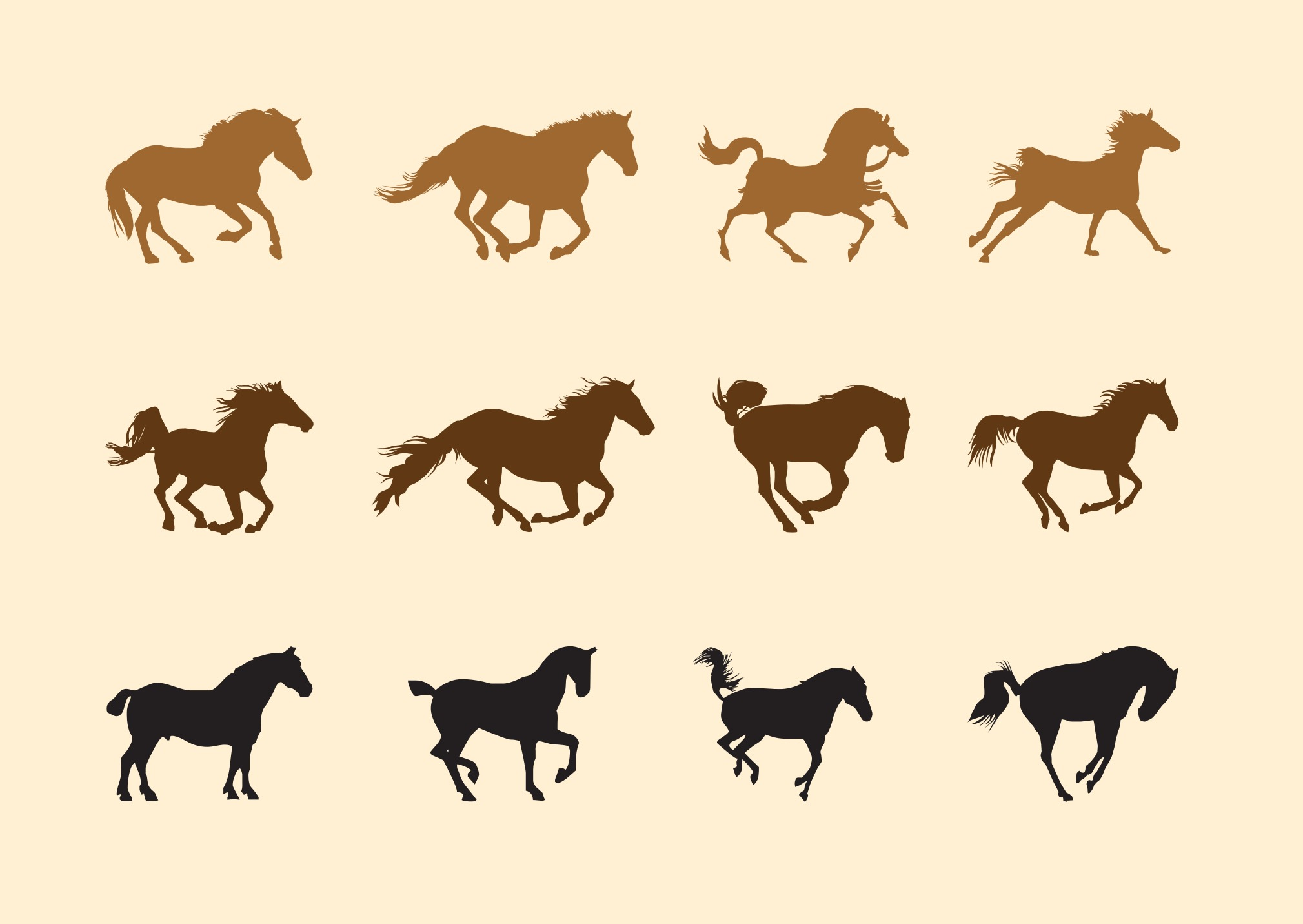 Horses Silhouettes Set Download Free Vector Art Stock