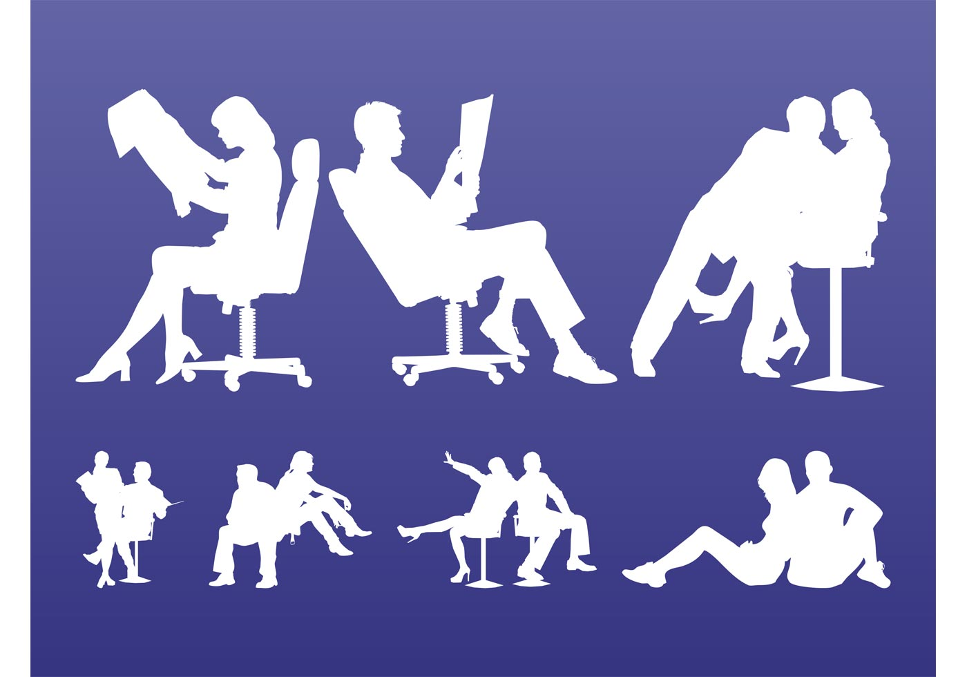 Sitting People Silhouettes Download Free Vector Art