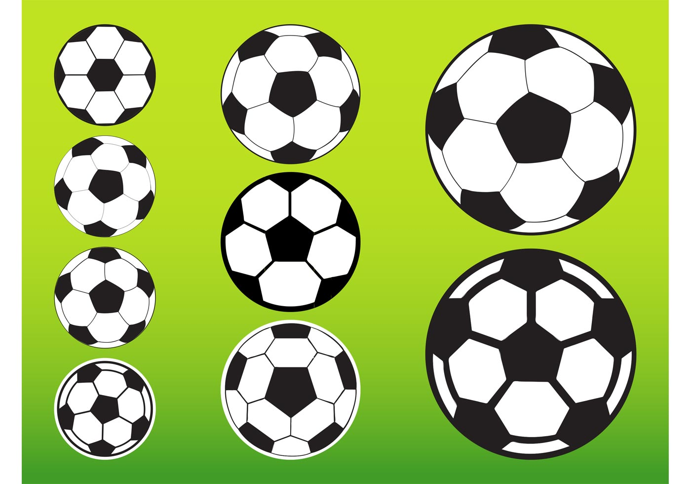 Soccer balls pack download free vector art stock - Ball image download ...