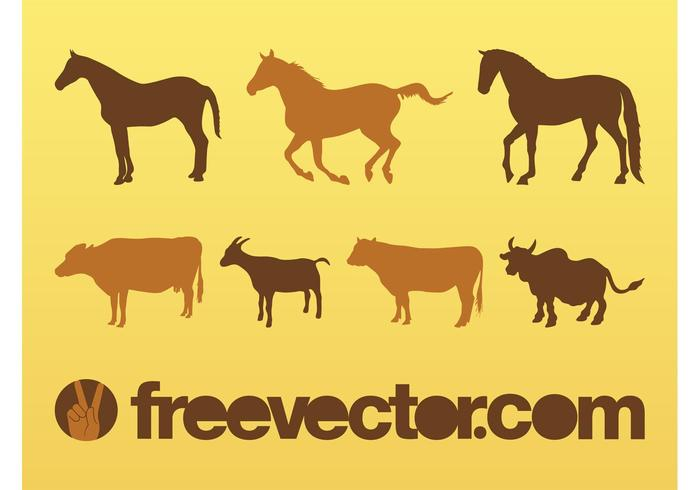 Livestock Animals Silhouettes