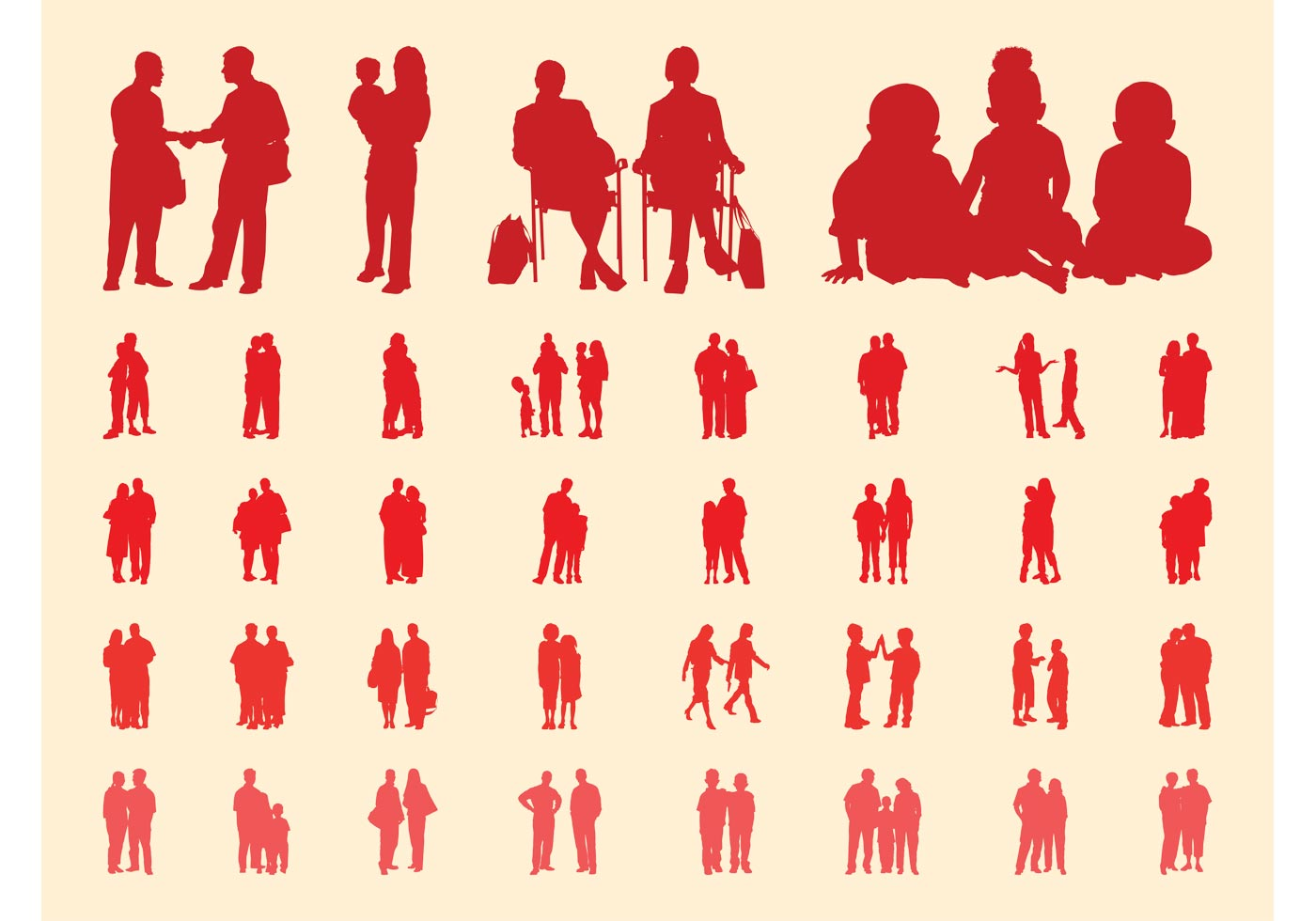 Traveling People Silhouettes Vector Art Graphics: People In Groups Silhouettes Set