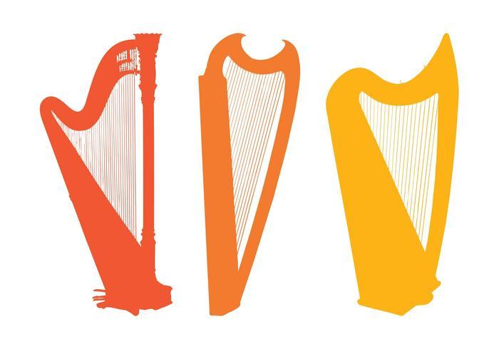 Harp Silhouettes Set