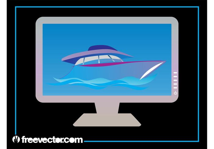 Yacht On Computer Monitor